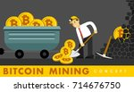 cryptocurrency concept with... | Shutterstock .eps vector #714676750