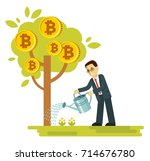 cryptocurrency concept with...   Shutterstock .eps vector #714676780