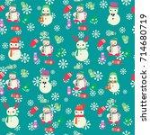vector christmas seamless... | Shutterstock .eps vector #714680719