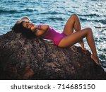 portrait of cheerful black... | Shutterstock . vector #714685150
