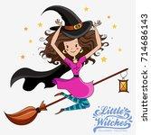 little witch. halloween girl... | Shutterstock . vector #714686143
