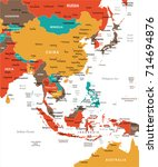 east asia map   detailed vector ...   Shutterstock .eps vector #714694876