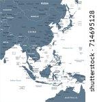 east asia map   detailed vector ... | Shutterstock .eps vector #714695128