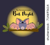 cute bat seating on the tree.... | Shutterstock .eps vector #714695614