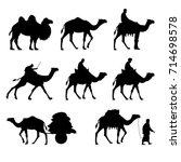 Set Of Vector Camels. Black...