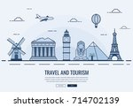 travel composition with famous... | Shutterstock .eps vector #714702139