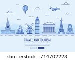 travel composition with famous... | Shutterstock .eps vector #714702223
