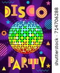 banner for a disco party in the ... | Shutterstock .eps vector #714706288