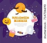 halloween greeting card.... | Shutterstock .eps vector #714706690