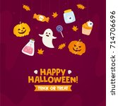 happy halloween greeting card.... | Shutterstock .eps vector #714706696