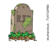 the tombstone with the... | Shutterstock .eps vector #714710980