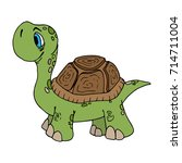 a cartoon tortoise. land turtle.... | Shutterstock .eps vector #714711004