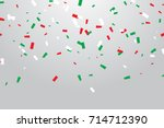 green and red white confetti... | Shutterstock .eps vector #714712390