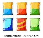 potato chips collection vector... | Shutterstock .eps vector #714714574