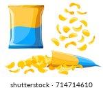 potato chips collection vector... | Shutterstock .eps vector #714714610