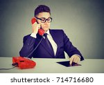 young business man having... | Shutterstock . vector #714716680