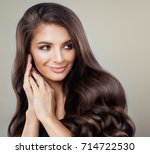brunette woman with perfect... | Shutterstock . vector #714722530