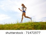 young happy girl running on... | Shutterstock . vector #71472577