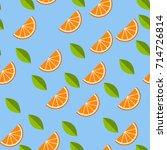orange  lemon on blue... | Shutterstock .eps vector #714726814
