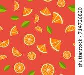 orange  lemon on red background.... | Shutterstock .eps vector #714726820