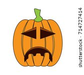 isolated sad jack o lantern on... | Shutterstock .eps vector #714727414