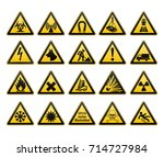 warning signs set. safety in ... | Shutterstock .eps vector #714727984