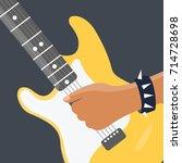 closeup rock cartoon   rocker... | Shutterstock .eps vector #714728698