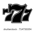triple lucky sevens black and...   Shutterstock .eps vector #714733354