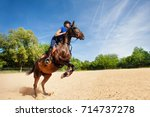 jumping horse and rider... | Shutterstock . vector #714737278