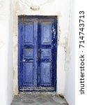 old door in mykonos greece   Shutterstock . vector #714743713