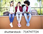 young students on campus | Shutterstock . vector #714747724