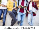 young students on campus | Shutterstock . vector #714747754