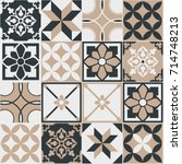 seamless pattern of tiles.... | Shutterstock .eps vector #714748213