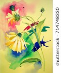 watercolor flowers and... | Shutterstock . vector #714748330