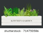 wooden crate of farm fresh... | Shutterstock .eps vector #714750586