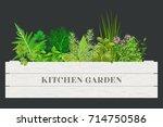 wooden crate of farm fresh... | Shutterstock .eps vector #714750586
