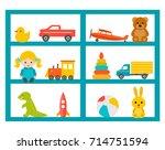 shelves with children toys set  ... | Shutterstock .eps vector #714751594