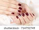 hands with short manicured... | Shutterstock . vector #714752749