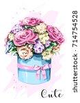 cute hand drawn flower box....   Shutterstock .eps vector #714754528