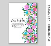 peony wedding invitation... | Shutterstock .eps vector #714754918