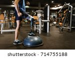 disabled young man training in... | Shutterstock . vector #714755188