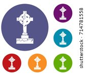 Irish Celtic Cross Icons Set I...