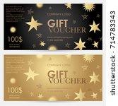 gift voucher with gold stars.... | Shutterstock .eps vector #714783343