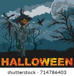 halloween scene with creepy... | Shutterstock .eps vector #714786403