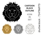 lion icon in cartoon style... | Shutterstock .eps vector #714786973
