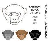 monkey icon in cartoon style... | Shutterstock .eps vector #714786976