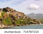 view of molyvos  or molivos or... | Shutterstock . vector #714787210