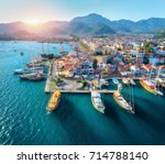 aerial view of boats and... | Shutterstock . vector #714788140