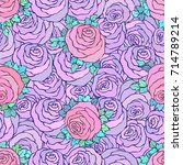 floral decorative bright pink... | Shutterstock .eps vector #714789214