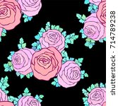 floral decorative bright pink... | Shutterstock .eps vector #714789238